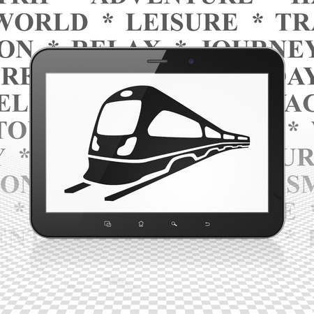 black train: Travel concept: Tablet Computer with  black Train icon on display,  Tag Cloud background, 3D rendering Stock Photo