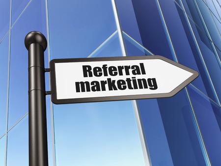 referral marketing: Marketing concept: sign Referral Marketing on Building background, 3D rendering