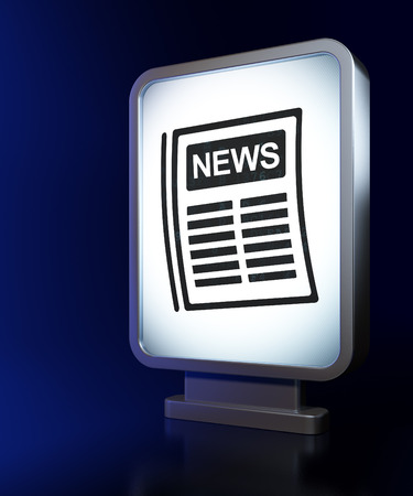 broadsheet newspaper: News concept: Newspaper on advertising billboard background, 3D rendering