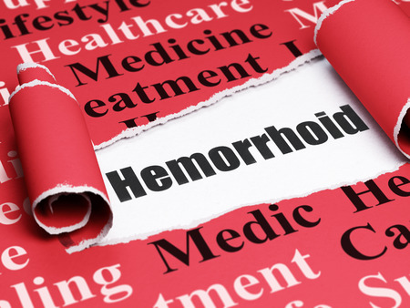 hemorrhoid: Health concept: black text Hemorrhoid under the curled piece of Red torn paper with  Tag Cloud, 3D rendering