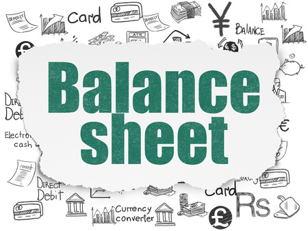 sheet: Money concept: Painted green text Balance Sheet on Torn Paper background with  Hand Drawn Finance Icons