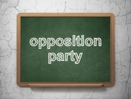 opposition: Politics concept: text Opposition Party on Green chalkboard on grunge wall background, 3D rendering