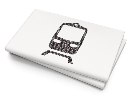 black train: Vacation concept: Pixelated black Train icon on Blank Newspaper background, 3D rendering