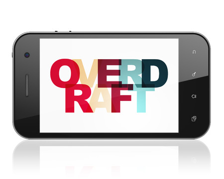 overdraft: Finance concept: Smartphone with Painted multicolor text Overdraft on display, 3D rendering