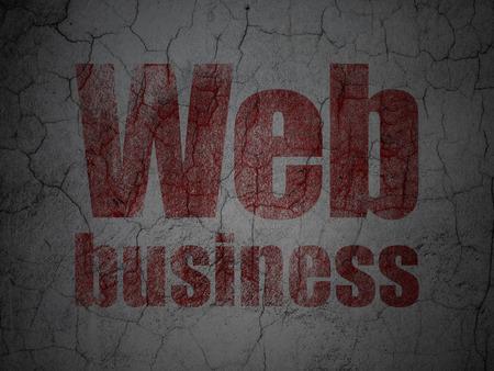 hypertext: Web development concept: Red Web Business on grunge textured concrete wall background