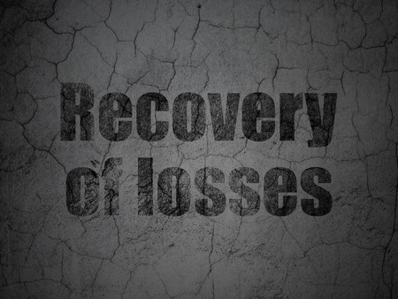 recovery: Money concept: Black Recovery Of losses on grunge textured concrete wall background