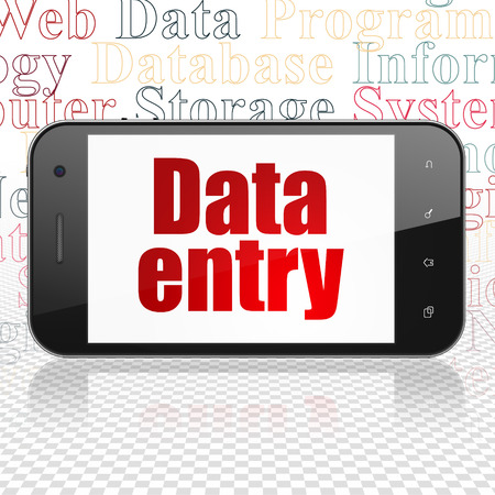 data entry: Data concept: Smartphone with  red text Data Entry on display,  Tag Cloud background, 3D rendering