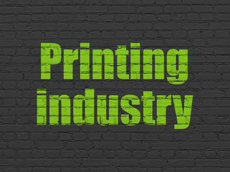 printing industry: Manufacuring concept: Painted green text Printing Industry on Black Brick wall background