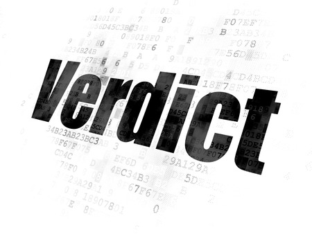 verdict: Law concept: Pixelated black text Verdict on Digital background