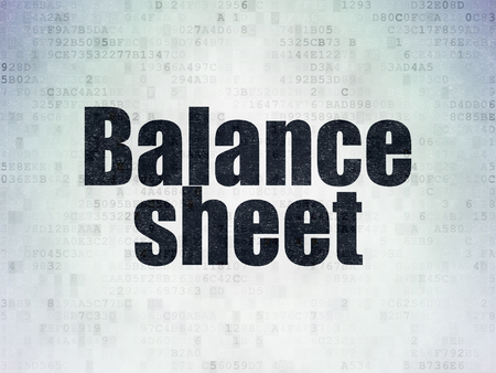 sheet: Money concept: Painted black word Balance Sheet on Digital Data Paper background