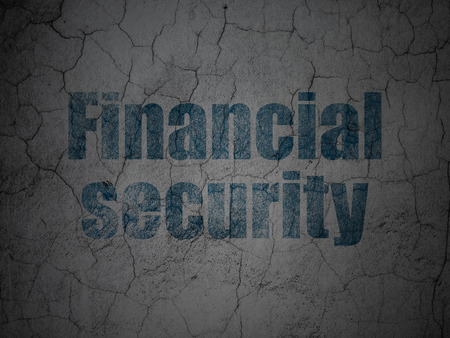 financial security: Safety concept: Blue Financial Security on grunge textured concrete wall background