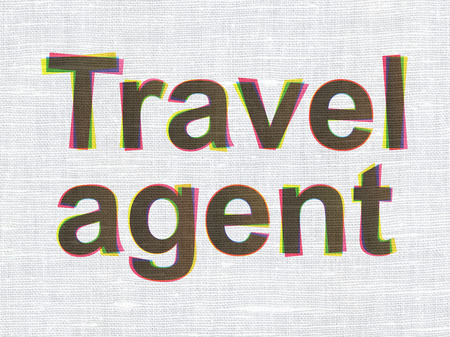 travel agent: Tourism concept: CMYK Travel Agent on linen fabric texture background Stock Photo