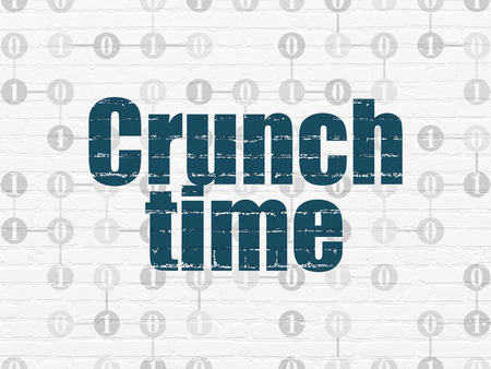 crunch: Finance concept: Painted blue text Crunch Time on White Brick wall background with Scheme Of Binary Code Stock Photo