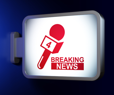 show bill: News concept: Breaking News And Microphone on advertising billboard background, 3D rendering