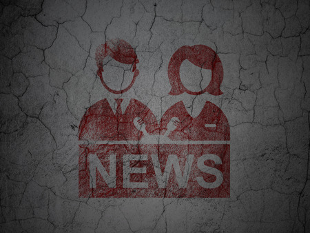 anchorman: News concept: Red Anchorman on grunge textured concrete wall background Stock Photo