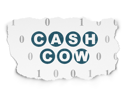 cash cow: Finance concept: Painted blue text Cash Cow on Torn Paper background with  Binary Code Stock Photo