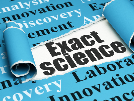 exact science: Science concept: black text Exact Science under the curled piece of Blue torn paper with  Tag Cloud, 3D rendering Stock Photo