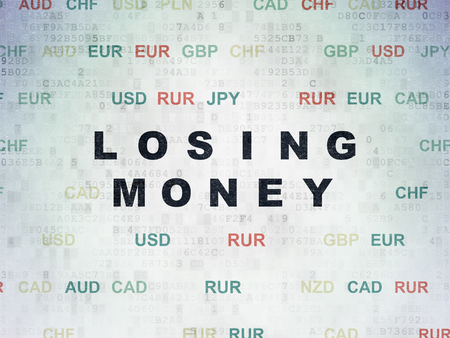 losing money: Currency concept: Painted black text Losing Money on Digital Data Paper background with Currency Stock Photo