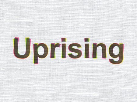 uprising: Political concept: CMYK Uprising on linen fabric texture background
