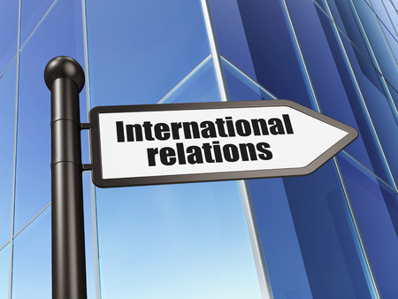 relations: Politics concept: sign International Relations on Building background, 3D rendering