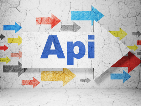 api: Database concept:  arrow with Api on grunge textured concrete wall background, 3D rendering