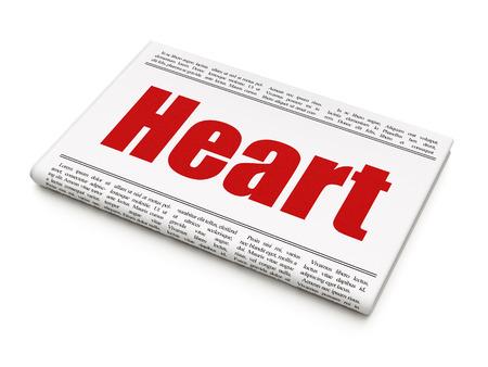 newspaper headline: Healthcare concept: newspaper headline Heart on White background, 3D rendering