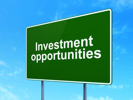 sign board: Business concept: Investment Opportunities on green road highway sign, clear blue sky background, 3D rendering