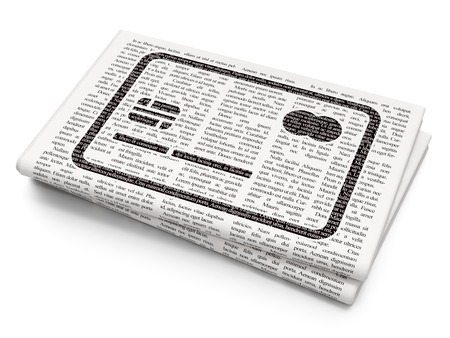 news values: Currency concept: Pixelated black Credit Card icon on Newspaper background, 3D rendering