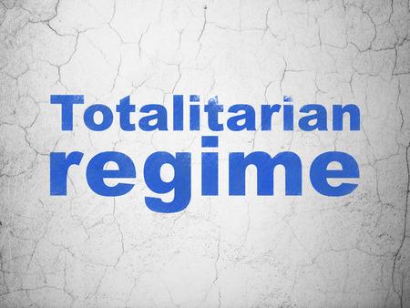 regime: Politics concept: Blue Totalitarian Regime on textured concrete wall background Stock Photo