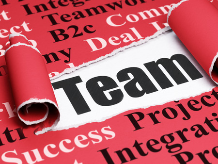 Business concept: black text Team under the curled piece of Red torn paper with  Tag Cloud, 3D rendering Stock Photo
