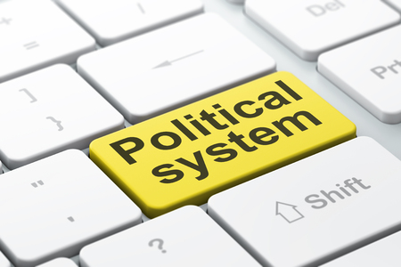 political system: Political concept: computer keyboard with word Political System, selected focus on enter button background, 3D rendering