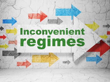 inconvenient: Political concept:  arrow with Inconvenient Regimes on grunge textured concrete wall background, 3D rendering Stock Photo