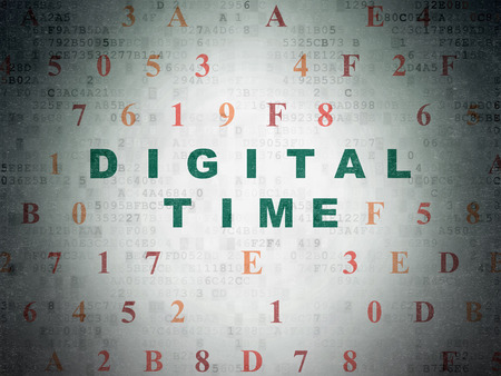 hexadecimal: Time concept: Painted green text Digital Time on Digital Data Paper background with Hexadecimal Code