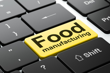 food industry: Industry concept: computer keyboard with word Food Manufacturing, selected focus on enter button background, 3D rendering