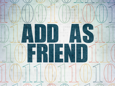 add as friend: Social media concept: Painted blue text Add as Friend on Digital Data Paper background with Binary Code Stock Photo