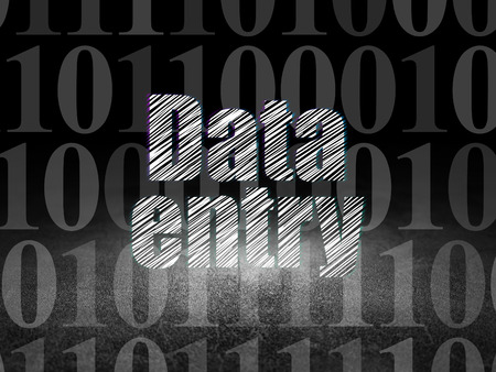 data entry: Information concept: Glowing text Data Entry in grunge dark room with Dirty Floor, black background with  Binary Code