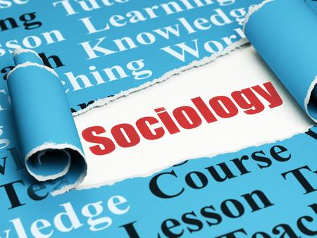 sociologia: Aprendizaje de conceptos: Sociología texto rojo debajo de la pieza rizado de papel rasgado azul con la nube de etiquetas, 3D Foto de archivo
