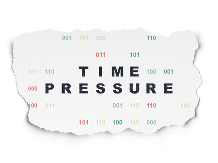 time pressure: Timeline concept: Painted black text Time Pressure on Torn Paper background with  Binary Code Stock Photo