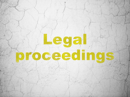 proceedings: Law concept: Yellow Legal Proceedings on textured concrete wall background