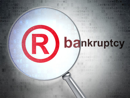 r regulation: Law concept: magnifying optical glass with Registered icon and Bankruptcy word on digital background, 3D rendering