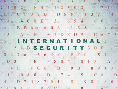 international security: Security concept: Painted green text International Security on Digital Data Paper background with Hexadecimal Code