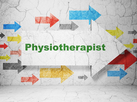 physiotherapist: Healthcare concept:  arrow with Physiotherapist on grunge textured concrete wall background, 3D rendering