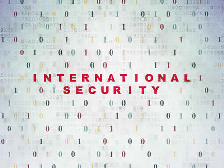 international security: Protection concept: Painted red text International Security on Digital Data Paper background with Binary Code