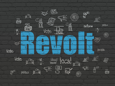 revolt: Political concept: Painted blue text Revolt on Black Brick wall background with  Hand Drawn Politics Icons Stock Photo