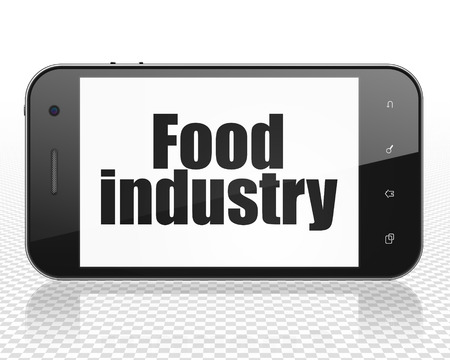 food industry: Manufacuring concept: Smartphone with black text Food Industry on display, 3D rendering
