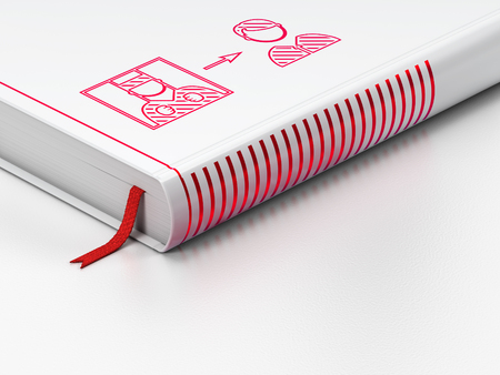 criminal act: Law concept: closed book with Red Criminal Freed icon on floor, white background, 3D rendering