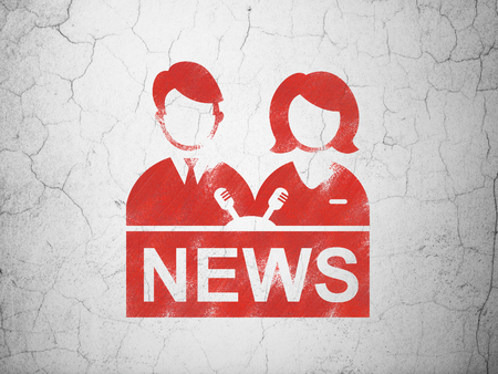 anchorman: News concept: Red Anchorman on textured concrete wall background