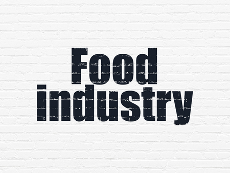 food industry: Manufacuring concept: Painted black text Food Industry on White Brick wall background