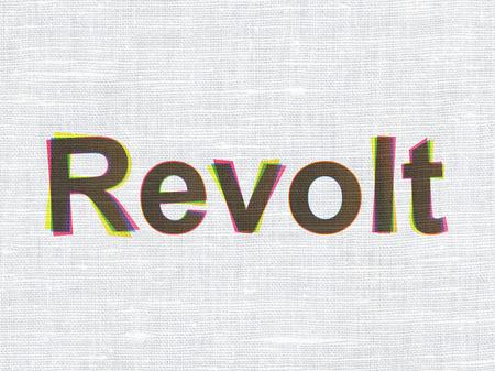 revolt: Politics concept: CMYK Revolt on linen fabric texture background