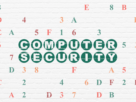 hexadecimal: Privacy concept: Painted green text Computer Security on White Brick wall background with Hexadecimal Code